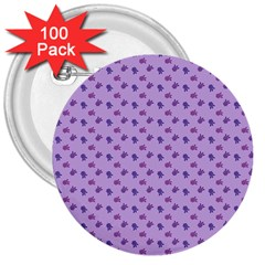 Pattern Background Violet Flowers 3  Buttons (100 pack)