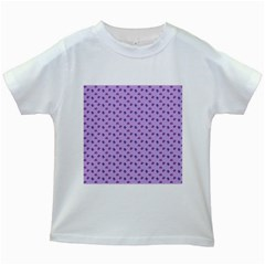 Pattern Background Violet Flowers Kids White T Shirts