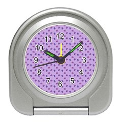 Pattern Background Violet Flowers Travel Alarm Clocks
