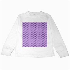Pattern Background Violet Flowers Kids Long Sleeve T-Shirts