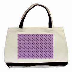 Pattern Background Violet Flowers Basic Tote Bag
