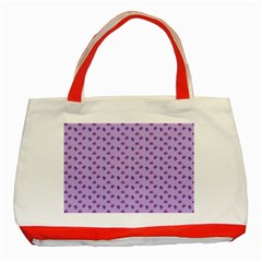 Pattern Background Violet Flowers Classic Tote Bag (Red)
