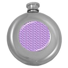 Pattern Background Violet Flowers Round Hip Flask (5 Oz)