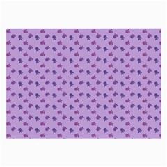Pattern Background Violet Flowers Large Glasses Cloth (2 Side)