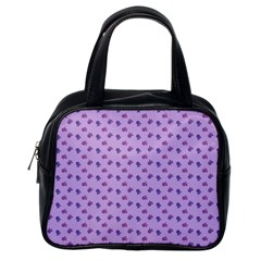 Pattern Background Violet Flowers Classic Handbags (One Side)