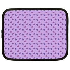 Pattern Background Violet Flowers Netbook Case (XXL)