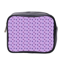 Pattern Background Violet Flowers Mini Toiletries Bag 2 Side