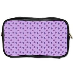 Pattern Background Violet Flowers Toiletries Bags 2 Side