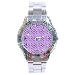 Pattern Background Violet Flowers Stainless Steel Analogue Watch