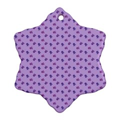 Pattern Background Violet Flowers Snowflake Ornament (two Sides)