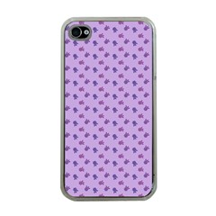 Pattern Background Violet Flowers Apple iPhone 4 Case (Clear)