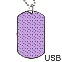 Pattern Background Violet Flowers Dog Tag Usb Flash (two Sides)