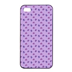 Pattern Background Violet Flowers Apple iPhone 4/4s Seamless Case (Black)