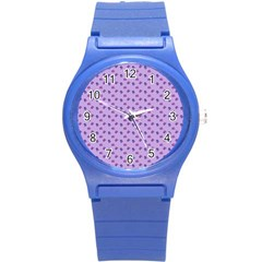 Pattern Background Violet Flowers Round Plastic Sport Watch (s)
