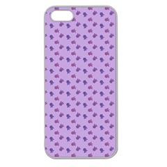 Pattern Background Violet Flowers Apple Seamless iPhone 5 Case (Clear)