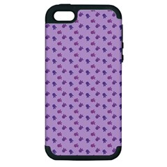 Pattern Background Violet Flowers Apple iPhone 5 Hardshell Case (PC+Silicone)