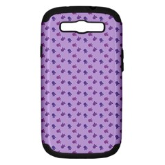 Pattern Background Violet Flowers Samsung Galaxy S III Hardshell Case (PC+Silicone)