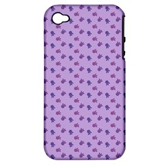 Pattern Background Violet Flowers Apple iPhone 4/4S Hardshell Case (PC+Silicone)