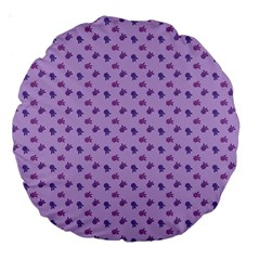 Pattern Background Violet Flowers Large 18  Premium Round Cushions