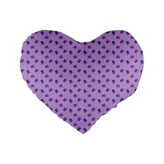 Pattern Background Violet Flowers Standard 16  Premium Heart Shape Cushions