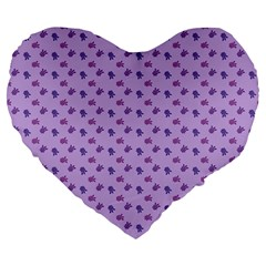 Pattern Background Violet Flowers Large 19  Premium Heart Shape Cushions