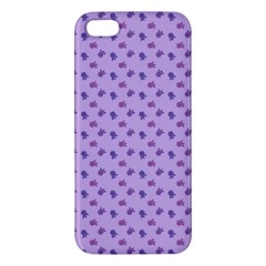 Pattern Background Violet Flowers Apple Iphone 5 Premium Hardshell Case