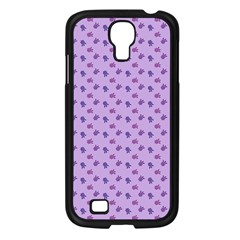 Pattern Background Violet Flowers Samsung Galaxy S4 I9500/ I9505 Case (black)
