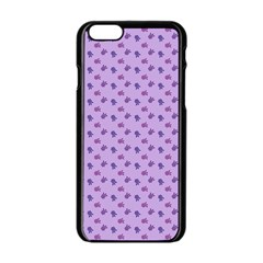 Pattern Background Violet Flowers Apple Iphone 6/6s Black Enamel Case