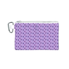 Pattern Background Violet Flowers Canvas Cosmetic Bag (S)