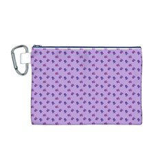 Pattern Background Violet Flowers Canvas Cosmetic Bag (m)