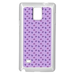Pattern Background Violet Flowers Samsung Galaxy Note 4 Case (white)