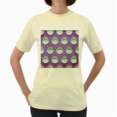 Background Floral Pattern Purple Women s Yellow T-Shirt
