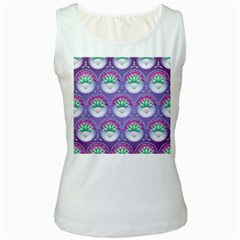 Background Floral Pattern Purple Women s White Tank Top