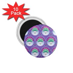 Background Floral Pattern Purple 1 75  Magnets (10 Pack)