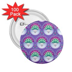 Background Floral Pattern Purple 2 25  Buttons (100 Pack)