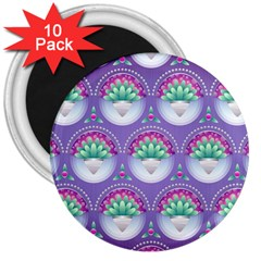 Background Floral Pattern Purple 3  Magnets (10 Pack)
