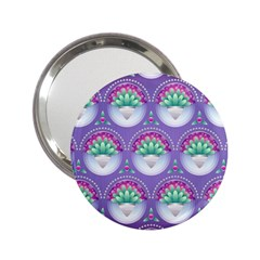 Background Floral Pattern Purple 2.25  Handbag Mirrors