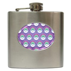 Background Floral Pattern Purple Hip Flask (6 oz)