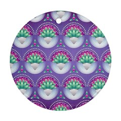 Background Floral Pattern Purple Round Ornament (Two Sides)