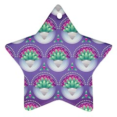 Background Floral Pattern Purple Star Ornament (two Sides)