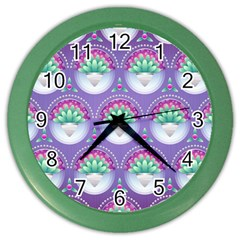 Background Floral Pattern Purple Color Wall Clocks