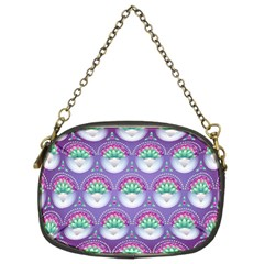 Background Floral Pattern Purple Chain Purses (Two Sides)