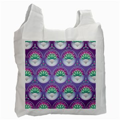 Background Floral Pattern Purple Recycle Bag (two Side)