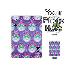 Background Floral Pattern Purple Playing Cards 54 (Mini)