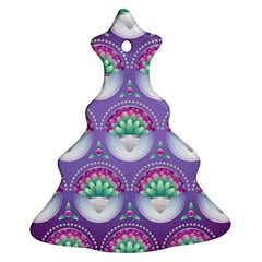 Background Floral Pattern Purple Christmas Tree Ornament (two Sides)