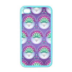 Background Floral Pattern Purple Apple iPhone 4 Case (Color)