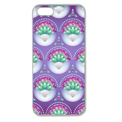 Background Floral Pattern Purple Apple Seamless Iphone 5 Case (clear)