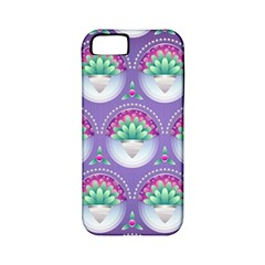 Background Floral Pattern Purple Apple iPhone 5 Classic Hardshell Case (PC+Silicone)