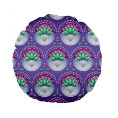 Background Floral Pattern Purple Standard 15  Premium Round Cushions