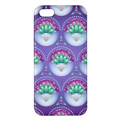 Background Floral Pattern Purple Apple iPhone 5 Premium Hardshell Case